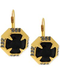 Vince Camuto - Goldtone Black Stone Pave Crystal Drop Earrings - Lyst