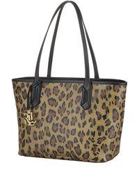 Lauren by Ralph Lauren Leopard Print Leather Satchel - Lyst