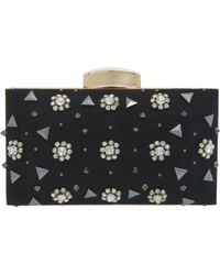 Miss Selfridge - Flower and Stud Hardcase Clutch Handbag - Lyst