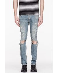Saint Laurent Blude Faded and Destroyed Jeans - Lyst