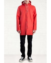 Stutterheim Stockholm Red Raincoat - Lyst