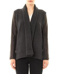 Vince Leather Sleeve Knitted Jacket - Lyst
