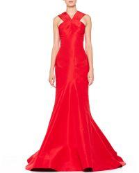Zac Posen Silk Halter Gown Grenadine - Lyst