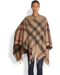 Burberry | Wool Check Cape | Lyst