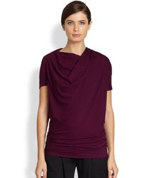 Donna Karan New York Draped Jersey Top - Lyst