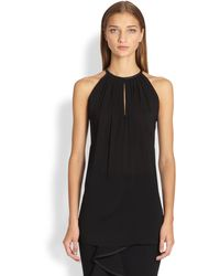 Donna Karan New York Leathertrimmed Keyhole Top - Lyst