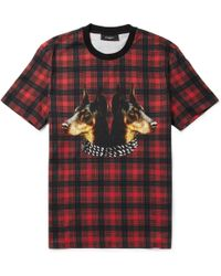 Givenchy Doberman-Print Cotton-Jersey T-Shirt red - Lyst