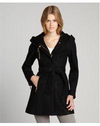 Laundry by Shelli Segal Black Boiled Wool Hooded 34 Length Coat - Lyst