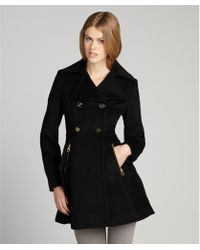 Laundry by Shelli Segal Black Wool Skirted Double Breasted Coat - Lyst
