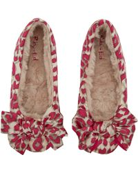 Ruby And Ed - Pink Leopard Print Bow Ballerina Slippers - Lyst
