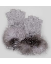 Sofia Cashmere - Furcuff Fingerless Cashmere Gloves Grey - Lyst