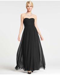 Ann Taylor Silk Georgette Shirred Strapless Gown - Lyst
