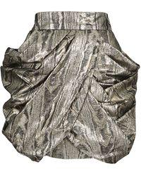 Balmain Lamé Draped Silk Skirt - Lyst