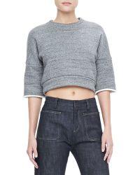 Derek Lam - Cropped Sweatshirt Pullover Charcoal - Lyst