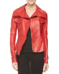 Donna Karan - Belted Doublecollar Leather Jacket - Lyst