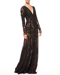Elie Saab Sheer Sequin Gown Black - Lyst