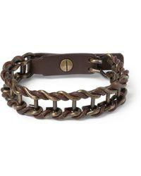 Lanvin - Leather and Burnishedmetal Bracelet - Lyst