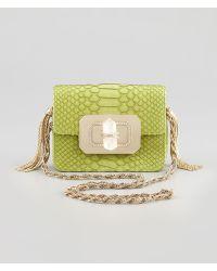 Marchesa - Phoebe Small Python Shoulder Bag Chartreuse - Lyst