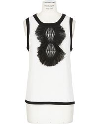 Prabal Gurung Ivory and Black Cashmere and Silk Knit Top - Lyst