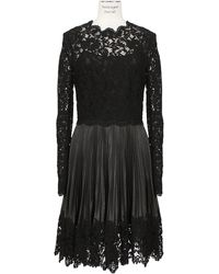 Valentino  Pleated Leather and Lace Dress - Lyst