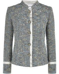 Armani Satin Trim Boucle Jacket - Lyst