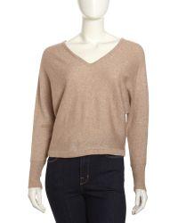 BCBGMAXAZRIA Metallic Vneck Sweater - Lyst