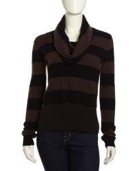 BCBGMAXAZRIA Striped Cowlneck Sweater - Lyst