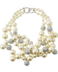 Kenneth Jay Lane - Pave Crystal Pearly Beaded Cluster Necklace Blue - Lyst