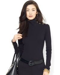 Ralph Lauren Long Sleeve Ribbed Mock Turtleneck - Lyst