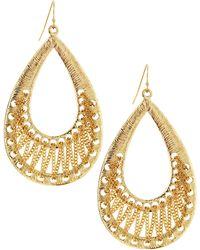 R.j. Graziano - Golden Textured Teardrop Earrings - Lyst
