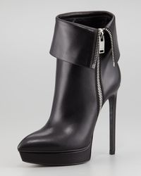 Saint Laurent Leather Zipcuff Platform Bootie - Lyst