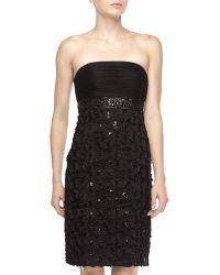 Sue Wong Strapless Rosetteskirt Dress Black - Lyst