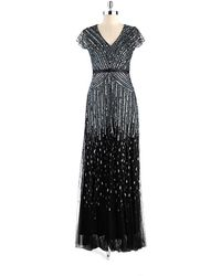 Adrianna Papell Sequin Cap Sleeved Gown - Lyst
