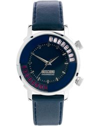 shop women s boutique moschino watches from 44 lyst boutique moschino blue ladies watch moveable ring and leather strap lyst