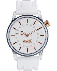 Boutique Moschino - White Ladies Watch with Stone Gem Details - Lyst
