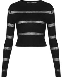 Topshop Long Sleeve Mesh Stripe By Oh My Love - Lyst