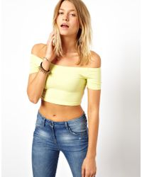 TFNC Asos 90s Crop Top with Off The Shoulder Detail yellow - Lyst