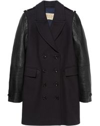 Burberry Brit   Woolblend and Leather Coat   Lyst