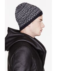White Mountaineering - Navy and Grey Catseye Pattern Knit Beanie - Lyst