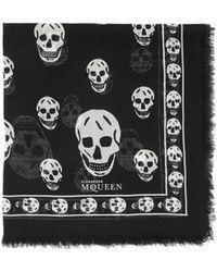 Alexander McQueen Skull Print Pashmina Scarf - Lyst