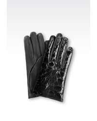 Emporio Armani Gloves in Crocodile Print Leather - Lyst