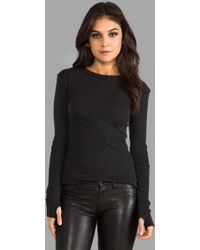 Enza Costa Cashmere Moto Pullover Sweater in Charcoal - Lyst