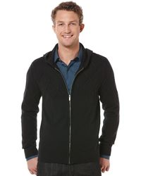 Perry Ellis Full Zip with Hood Sweater - Lyst