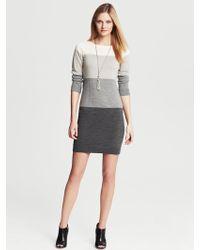 Banana Republic Colorblock Sweater Dress Grey - Lyst