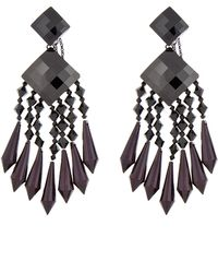 Balmain - Black and Burgundy Chandelier Earrings - Lyst