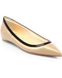 Christian Louboutin Paulina Patent Leather & Plastic Point-Toe Flats beige - Lyst