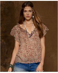 Denim & Supply Ralph Lauren Floral-Print Flutter-Sleeve Ruffled Top  - Lyst