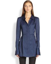 Donna Karan New York Silk Organza Tunic Blouse - Lyst