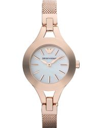 Emporio Armani Rose Gold and Mother Of Pearly Watch - Lyst