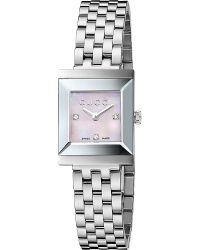 Gucci Gframe Collection Stainless Steel and Diamond Watch Grey - Lyst